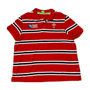 Rugby-World-Cup-2015-Men-039-s-Red-Stripe-Polo-Size-3XL-Union