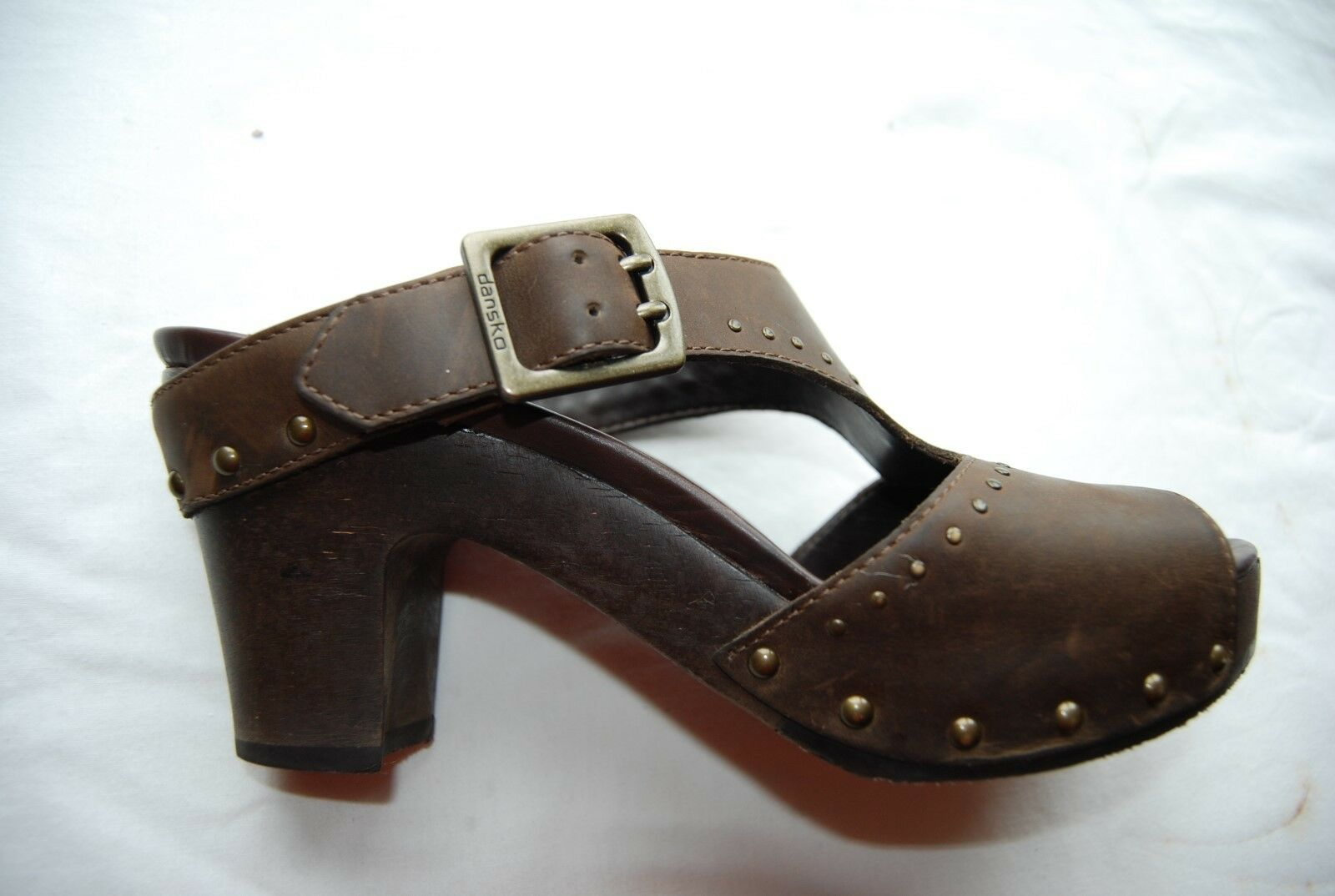 Dark Brown Leather DANSKO OpenToe Tall Slides Strap & & & Studs EU 39 US 8.5 - 9 c7777b