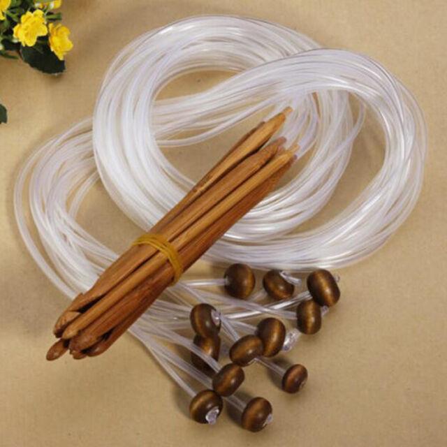 """1.2m 48"""" 12 Different Sizes/Set Tunisian Carbonized Bamboo Needle Crochets Hooks"""
