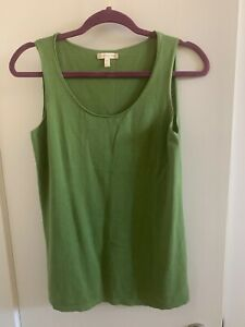 EILEEN-FISHER-Women-039-s-Tank-Top-XS-Green-Cotton-Cashmere-blend-Knit