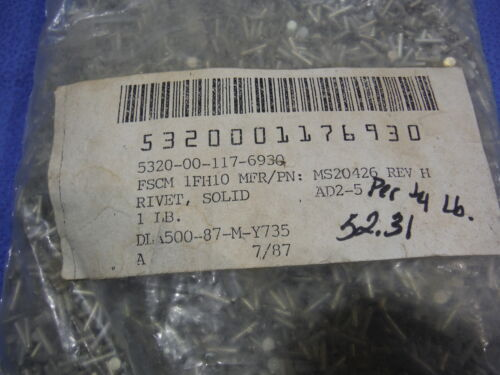815-79 Flush Solid NOS    P//N MS20426AD2-5 Rivits