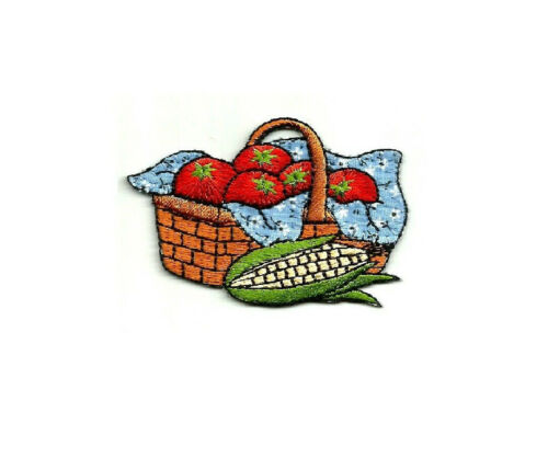 Iron On Applique Patch Country Basket Farming Gardening Vegetables
