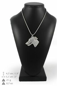 Whippet-type-2-silver-plated-pendant-with-silver-cord-Art-Dog-IE