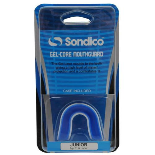 SONDICO JUNIOR GEL-CORE PROTECTIVE MOUTHGUARD 11yrs BOXING HOCKEY WHITE BLUE