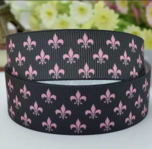 "7//8"" Black With Pink Fleur De Lis Grosgrain Ribbon BTY By The Yard"