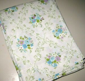Details About Vintage Pink Blue Fl Twin Size Flat Bed Sheet Made In Usa By Cannon