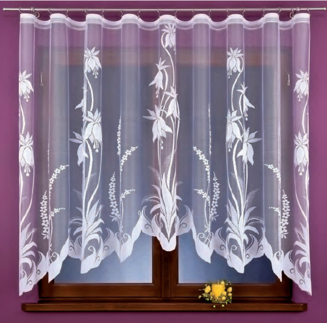 Beautiful New Ready Made Jacquard Net Curtain Floral design 330x160cm