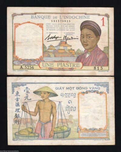 FRENCH INDO CHINA 1 PIASTRE P54 B 1936 BUFFALO AU VIETNAM MONEY BILL BANK NOTE