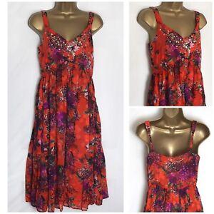 Vestido-De-Verano-Una-M-amp-s-Naranja-Per-Floral-de-gasa-con-Tiras-Forrado-6-22-pu-101h