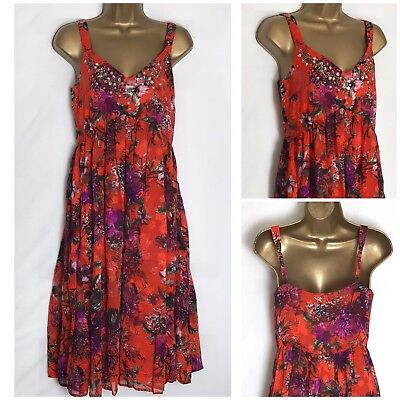 Per Una M/&S Navy Floral Chiffon Strappy Lined Summer Dress 6-22  RRP £45