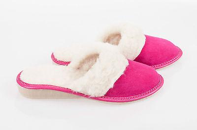 Mujeres Rosa 100% Lana Zapatillas De Cuero De Gamuza Zapatos Talla 3 4 5 6 7 8 Flip-Flop