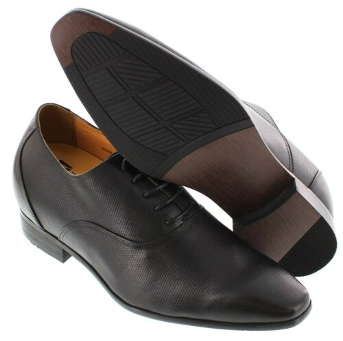 TOTO H4020-3 Inches Elevator Height Increase Black Embossed Lace Up Oxford