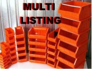 RED PLASTIC STACKING PARTS STORAGE BINS** 7 SIZES ...