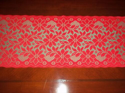 LACE TABLE RUNNER GREEN RED FLORAL 54 X 14 RTRF164