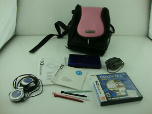 Nintendo-DS-Lite-Lot-Cobalt-Blue-w-1-Game-With-Cases-Car-Charger-Tested-Working