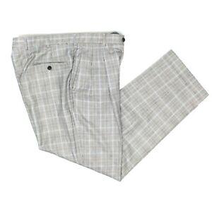 Berle Para Hombre Pantalones De Vestir 36x32 Gris A Cuadros De Lana Plisada Pantalones Ee Uu Glen Ebay
