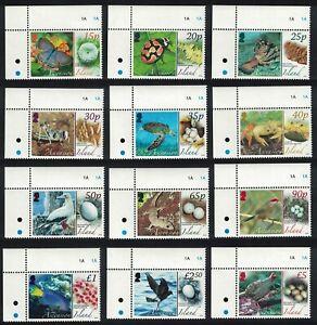 Ascension-Aves-Mariposas-fauna-y-sus-huevos-12v-esquinas-estampillada-sin-montar-o-nunca-montada-SG