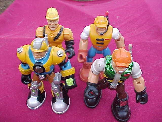 LOT  4 2001 MATTEL FISHER PRICE RESCUE HEROES ACTION FIGURE CONSTRUCTION WORKERS