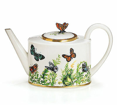 Wings of Grace Butterfly Teapot Porcelain 32 Oz  burton+BURTON NEW in Gift Box!