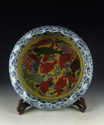 Discreet Chinese Antique Five Colored Porcelain Brush Waher With Fish