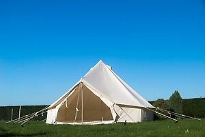 Image is loading 4m-Canvas-Bell-Tent-with-zipped-in-Groundsheet- & 4m Canvas Bell Tent with zipped in Groundsheet FREE COIR ENTRANCE ...