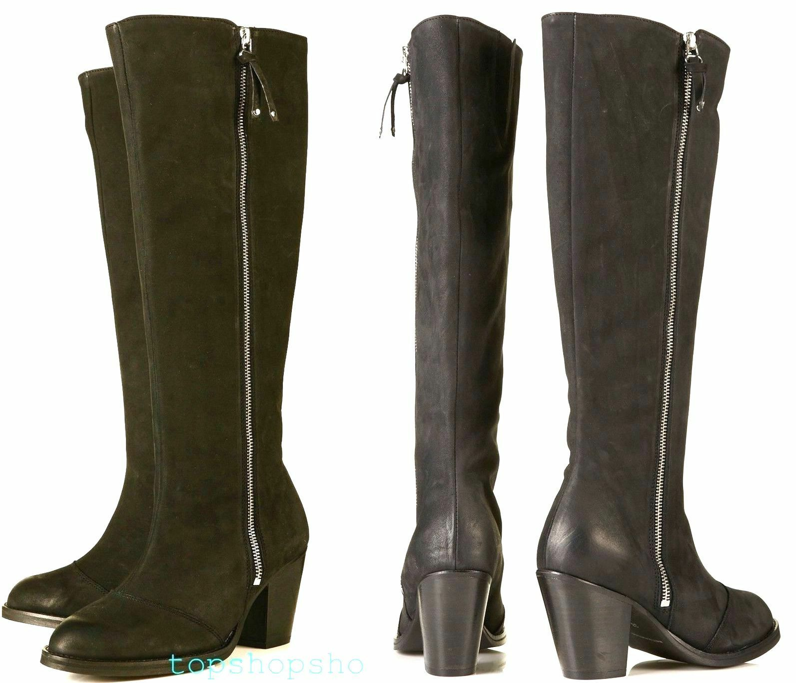 TOPSHOP GENUINE LEATHER HIGH BOOTS LEG ZIP BIKER MOTORCYCLE BOOTS HIGH AMBUSH NEW 2390a1