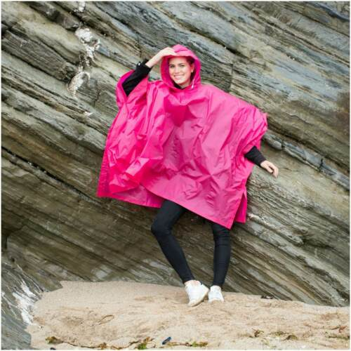 Light Weight Rain Coat Poncho Waterproof Festival Camping Hiking Hooded Cape