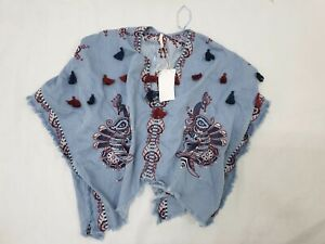 ZARA-Denim-Floral-Embroidered-Jacket-Poncho-Tassels-Kimono-Medium-One-Size