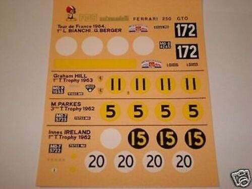 FERRAR 250 GTO 1962 TOUR DE FRANCE// T.THOPY 1//43 DECAL KIT