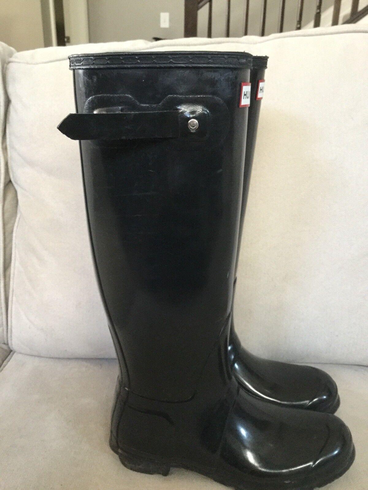 Hunter Original Tall Tall Tall Gloss Women Black Rubber Rain Boots Size US 8 746749