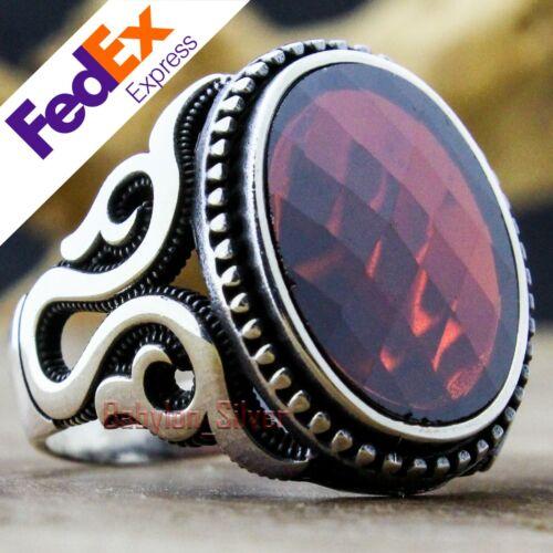 Turco Hecho a Mano Joyería de plata esterlina 925 anillo de rubí de lujo para hombre de todos los tamaños