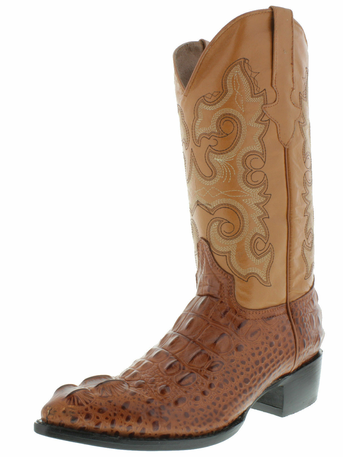 Mens' New Leather Crocodile Head Design Rodeo Western Cowboy Stiefel J Toe Cognac