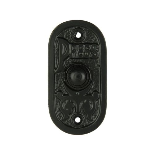 Wired Iron Doorbell Chime Push Button in Black Powder Coat Finish Vintage Dec...
