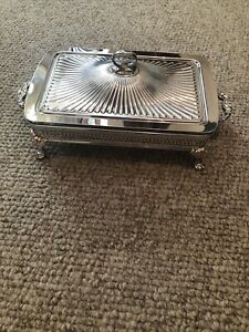 Vintage Silver Plate Casserole Dish Holder Tray w/ Pyrex Dish, Lid