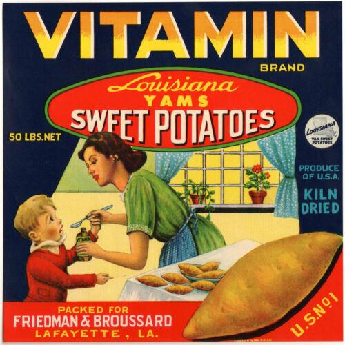 *Original* VITAMIN 1950/'s Healthy Mother Baby Louisiana Yam Label NOT A COPY!