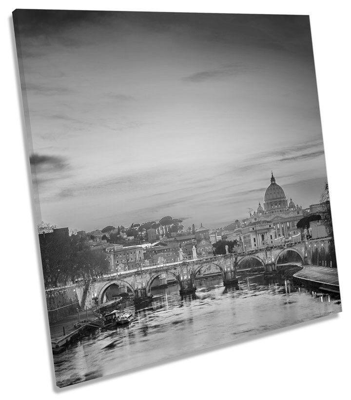 ST PETERS CATTEDRALE ROMA SUNSET ITALIA B&W SQUARE BOX incorniciato Tela Foto Arte