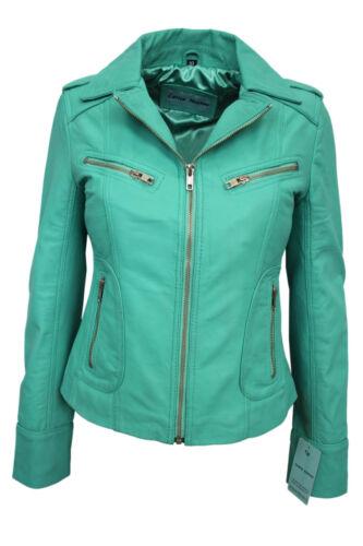 Racer Style Ladies Nappa Designer Biker Veste Casual Turquoise Mode cuir en zzcW1
