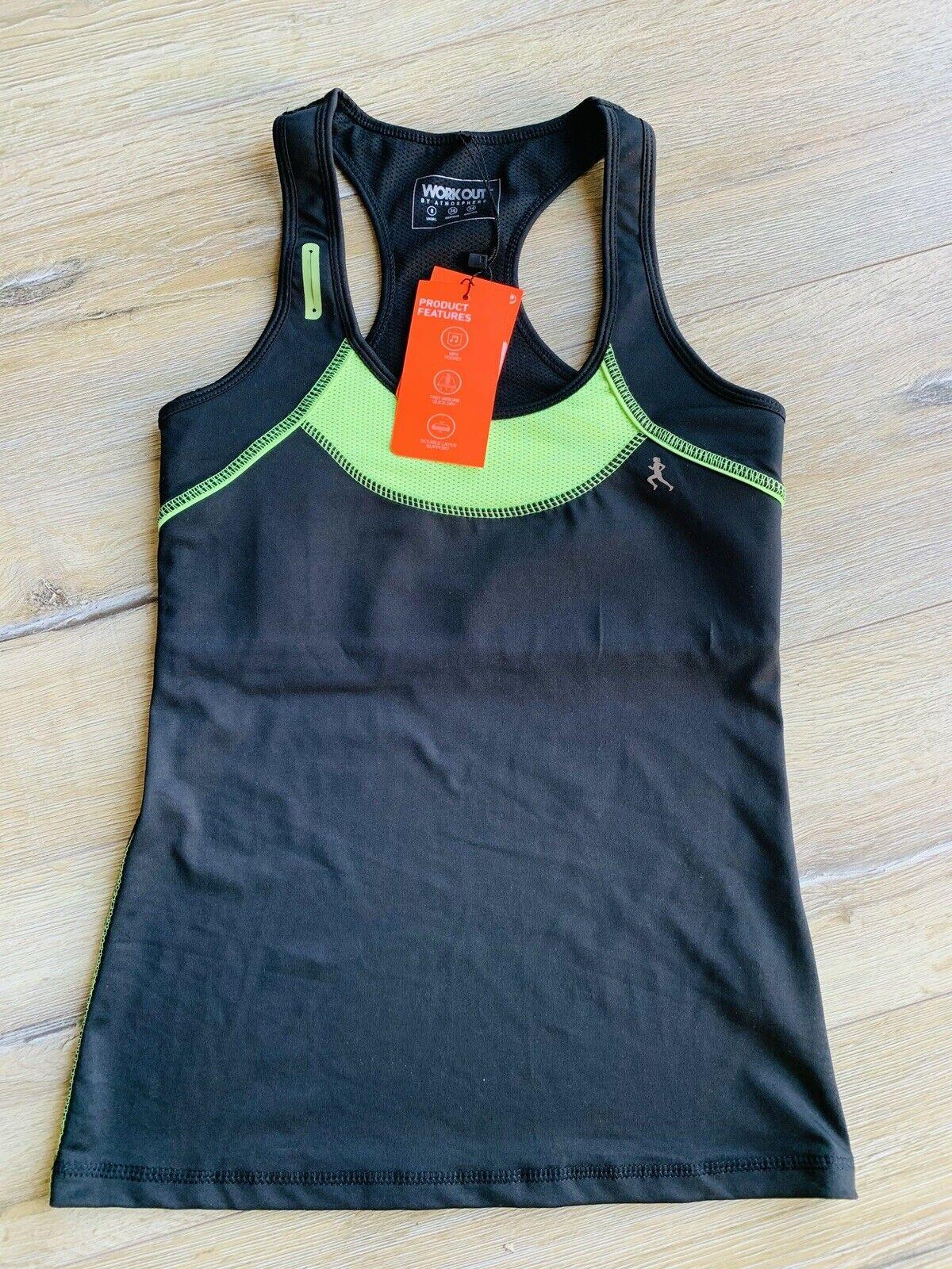 Sport Top Damen 34 36 XS S Schwarz Neu Mit Etikette Funktion Workout Gym Sport