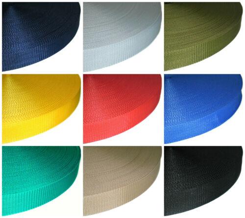 wähle Farbe /& Länge 38mm Polypropylen schlicht Weberei Gurt Gurtband