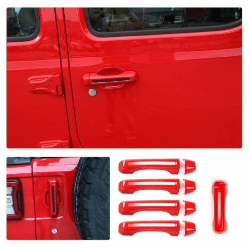 Red ABS Car Exterior Door Handle Cover Trim For 2018 Jeep Wrangler JL 4-Door 5pc
