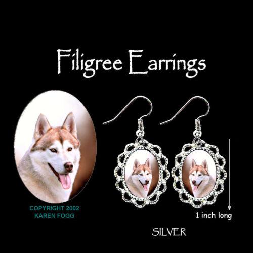 SILVER FILIGREE EARRINGS Jewelry SIBERIAN HUSKY DOG Red