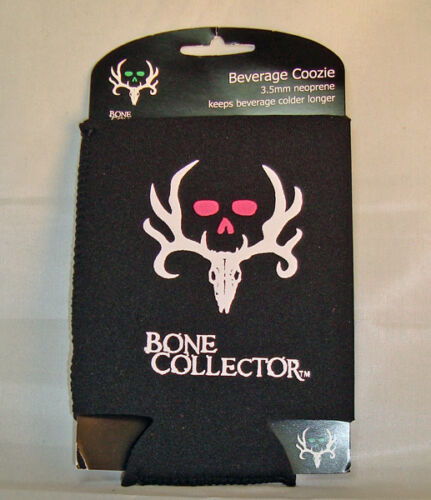 Bone Collector Black and Pink Can Coozie Skull