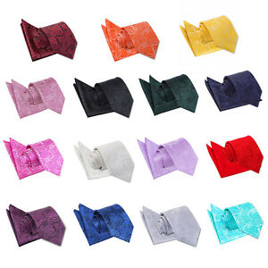 Men-039-s-Necktie-Set-Paisley-Jacquard-Wedding-Tie-Pocket-Square-Handkerchief