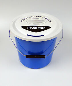 Charity Fundraising Money Collection Bucket with Lid, Label & Ties - Light Blue