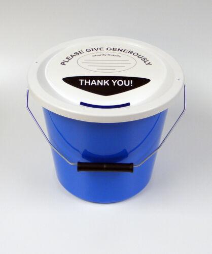 Charité Fundraising argent collection seau avec couvercle étiquette /& Liens-bleu clair