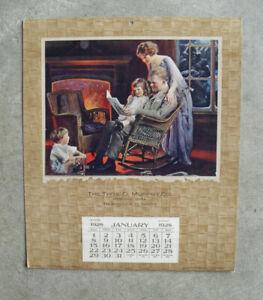 Vintage Murphy Salesman Sample 1928 Wall Calendar Litho Print Family Reading