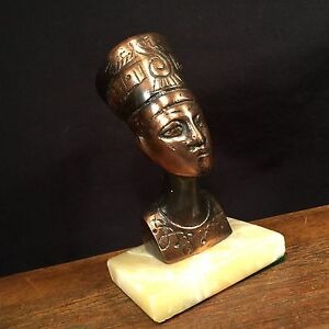 Details about Vintage Bronze Egypt Queen Nefertiti Bust on Marble Base  PRIORITY MAIL