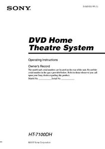 Sony ht-sf2300 ht-ss2300 home theater system owners manual.
