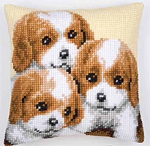 Puppies Large Holed Tapestry Cushion Kit//Printed Chunky Cross Stitch