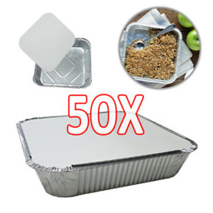 50X-9-034-x9-034-x2-034-LARGE-ALUMINIUM-FOIL-FOOD-CONTAINERS-With-LIDS-DCUK